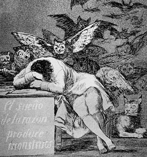 """Gravură din seria """"Capriciilor"""" lui Francisco de Goya, Somnul Rațiunii..."""