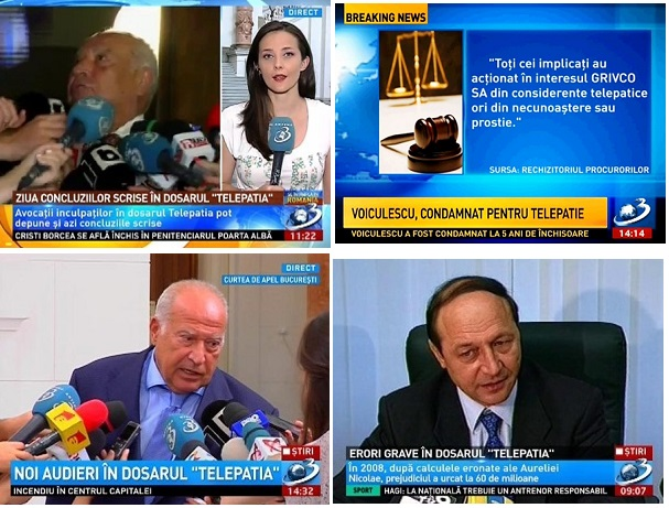 """Un colaj de imagini capturate de-a lungul timpului de la Antena 3, care arată cum a fost impusă în opinia publică sintagma """"Dosarul Telepatia""""..."""