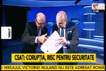 Captură de la ultima prezență a lui Traian Băsescu în emisiunea lui Rareș Bogdan, în octombrie 2014