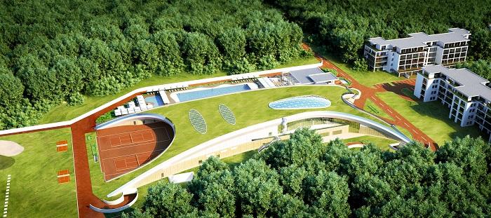 O construcție spectaculoasă: Stejarii Country Club - zona de relaxare a complexului rezidențial - cu un acoperiș peste care crește iarba