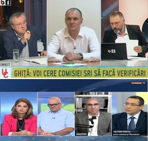 """Simultan"" Ponta - Ghiță miercuri seară: primul, la România TV, al doilea - la B1 TV"