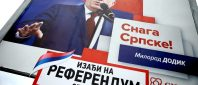 Milorad Dodik, President of Republika Srpska is pictured on an election poster calling for votes for a referendum on their Statehood Day in Prnjavor